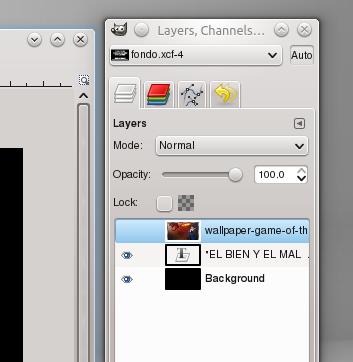 Cuadro de dialogo de capas en GIMP.