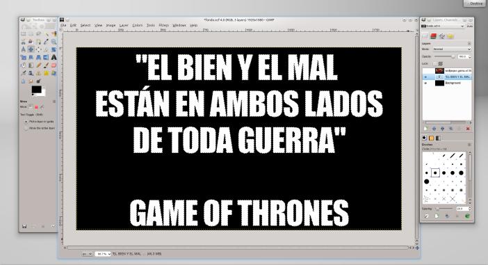 Capa de texto en GIMP.