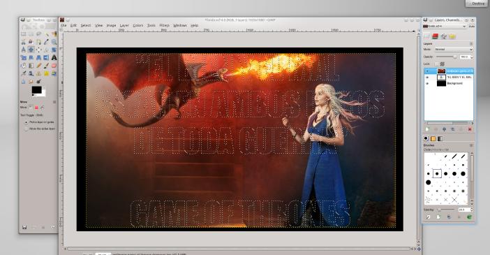 Activar capa de imagen en GIMP.